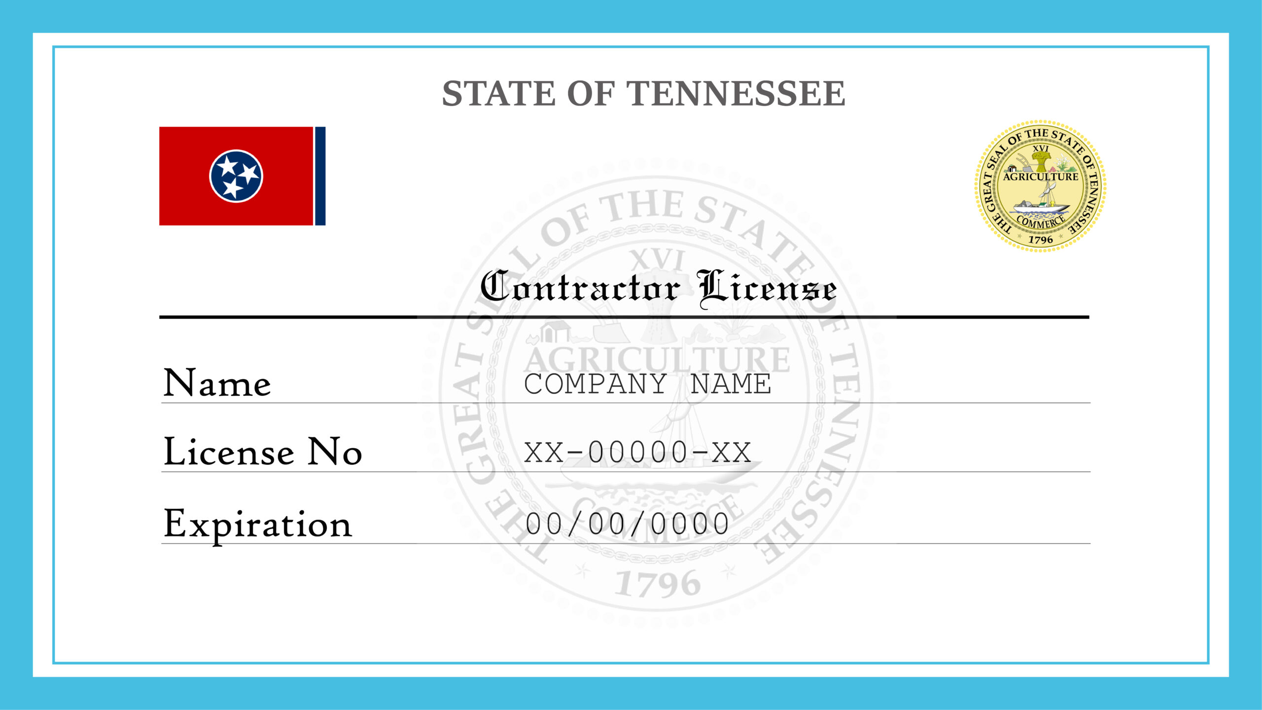 Sample Tennessee Contractor License