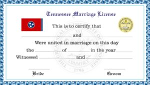 Sample Tennessee Marriage License