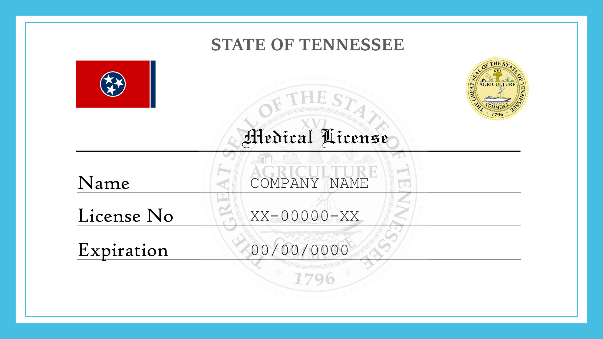 Sample Tennessee Medical License