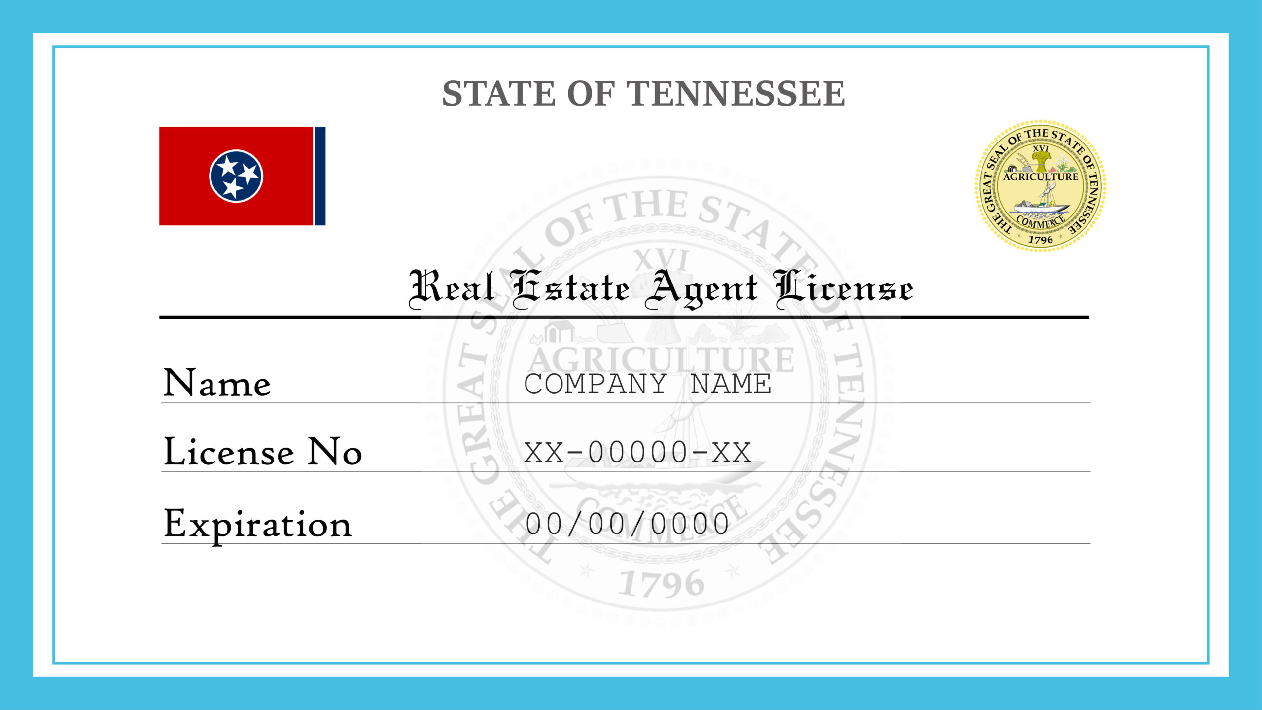 Sample Tennessee Real Estate Agent License