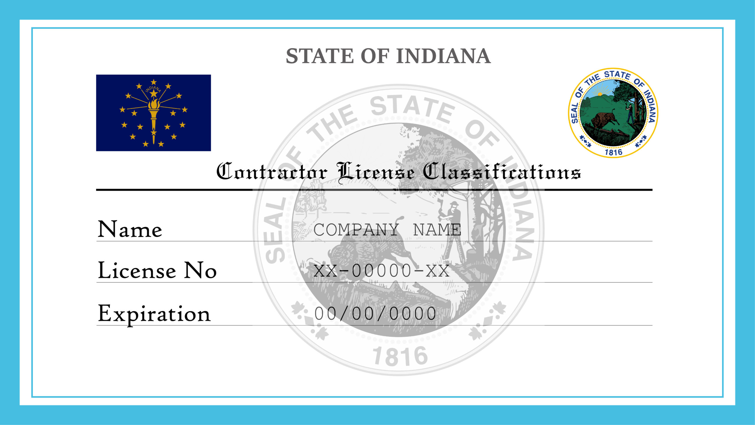 Sample Indiana Contractor License Classifications