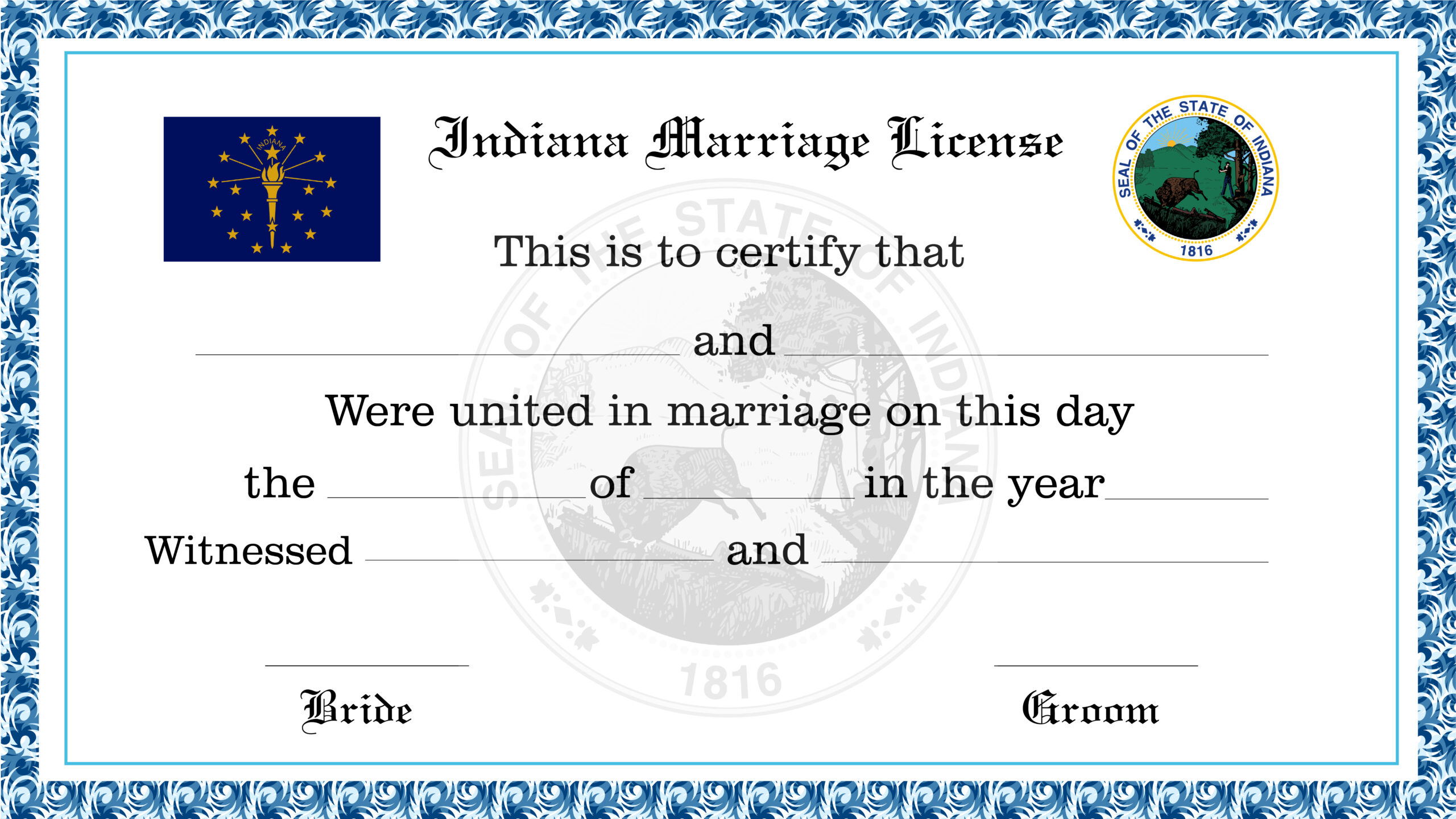 Sample Indiana Marriage License