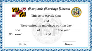 Sample Maryland Marriage License