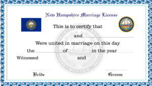 Sample New Hampshire Marriage License