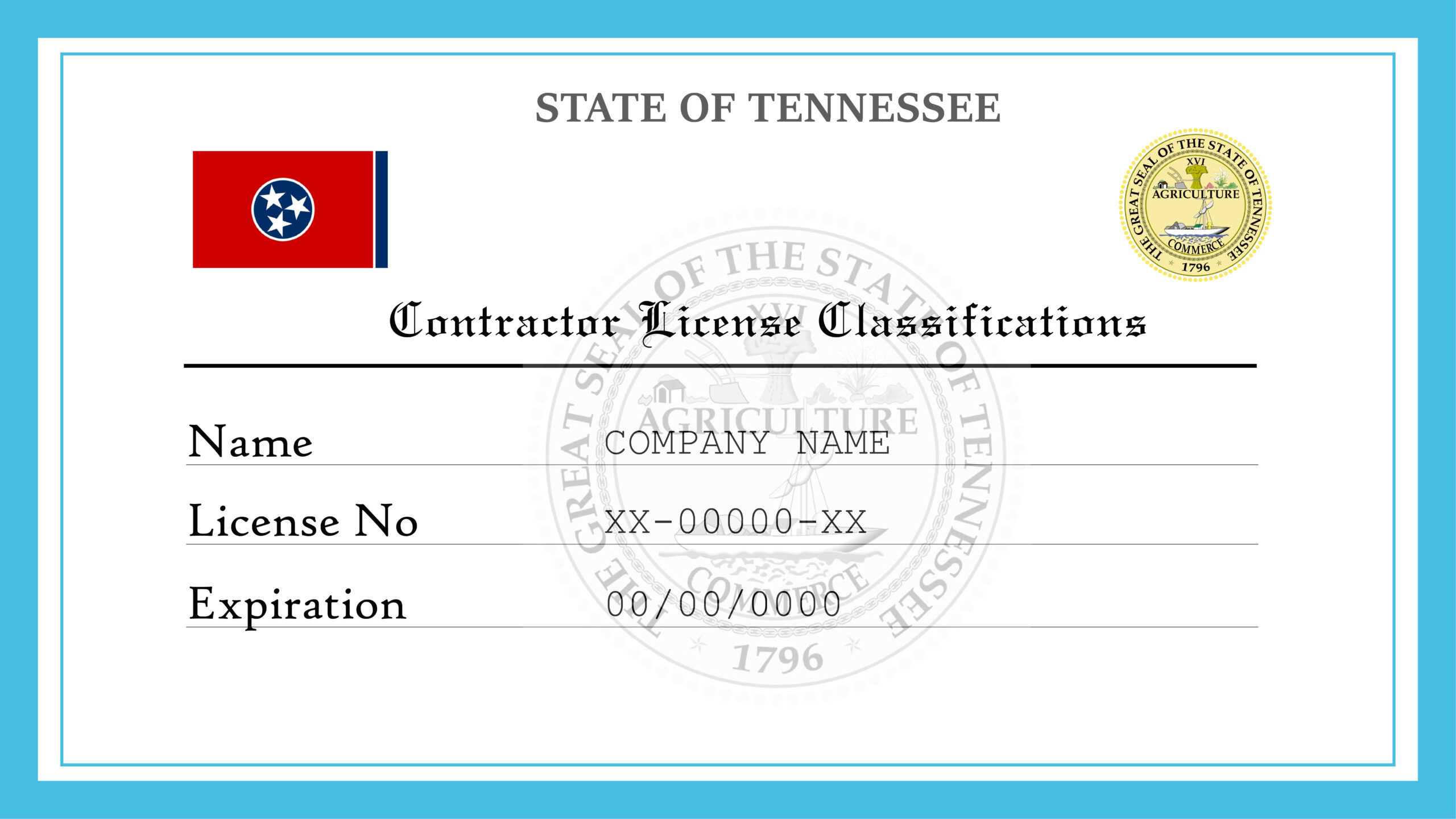 Sample Tennessee Contractor License Classifications