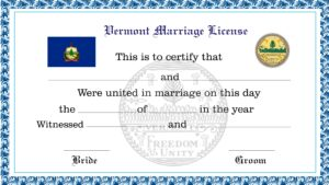 Sample Vermont Marriage License